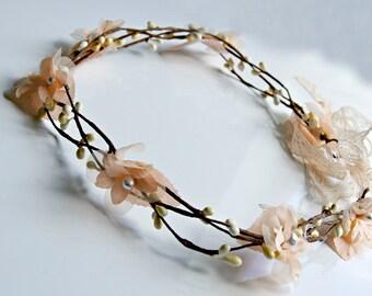 Flower Crown , wedding wire vine crown , Peach rustic bridal wreath , vine crown , bridal flower crown , whimsical wedding , woodland