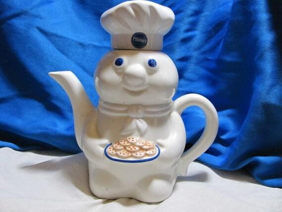 Pillsbury Dough Boy Teapot cuddly cute Farmhouse cottage shabby chic cheerful vintage Kitchen housewares