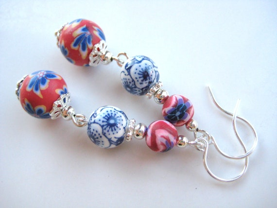 FLORAL SPIRIT- Beaded Earrings- Floral Polymer Clay and Porcelain Beads with Silver Plated Spacers and Ear Wires