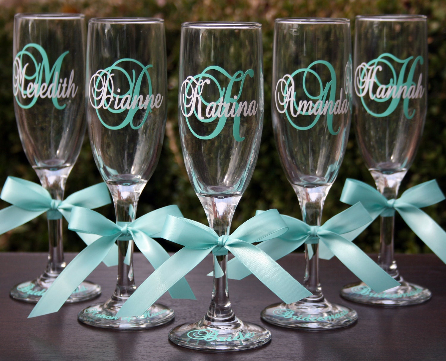 Glass Wedding Gifts: 13 Monogrammed Bride And Bridesmaids Champagne Flutes