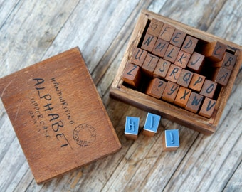 Wooden Rubber Handwriting Alphabet Stamps Set - 28 pieces Uppercase Stamp