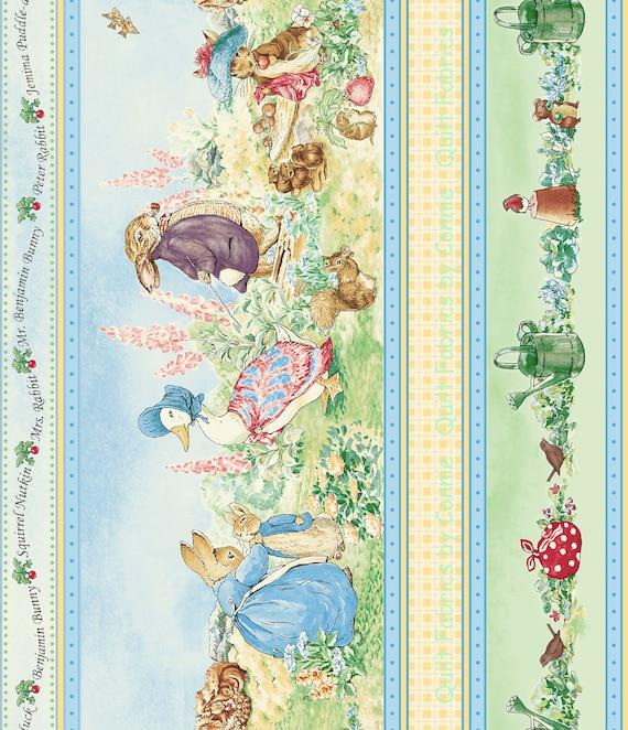 Beatrix Potter Garden Tales Border Fabric by Quilting Fabrics