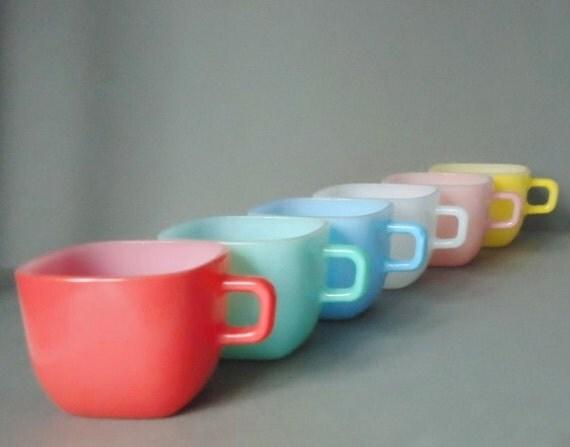 RESERVED Retro Glasbake Lipton Soup Mugs - Lipton Soup Mugs - Square Glass Mugs