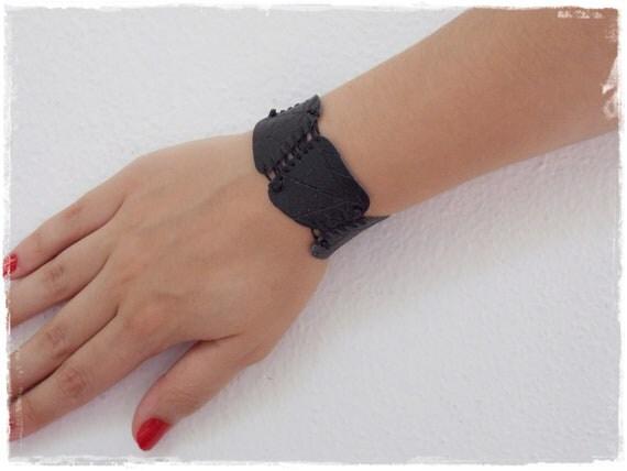 Black Leather Cuff Bracelet, Spider Web Bracelet Inspired By Drizzt Do'Urden Tales