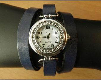 women wrist watch handmade leather bracelet wrap blue