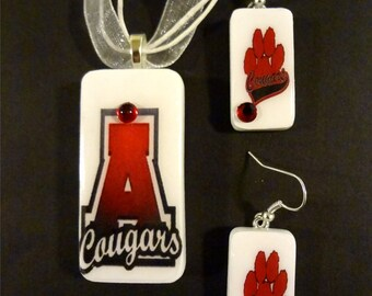Ada Cougars School Spirit pendant and Earrings set   Domino Jewelry teama nd school spirit jewelry item 1710  2