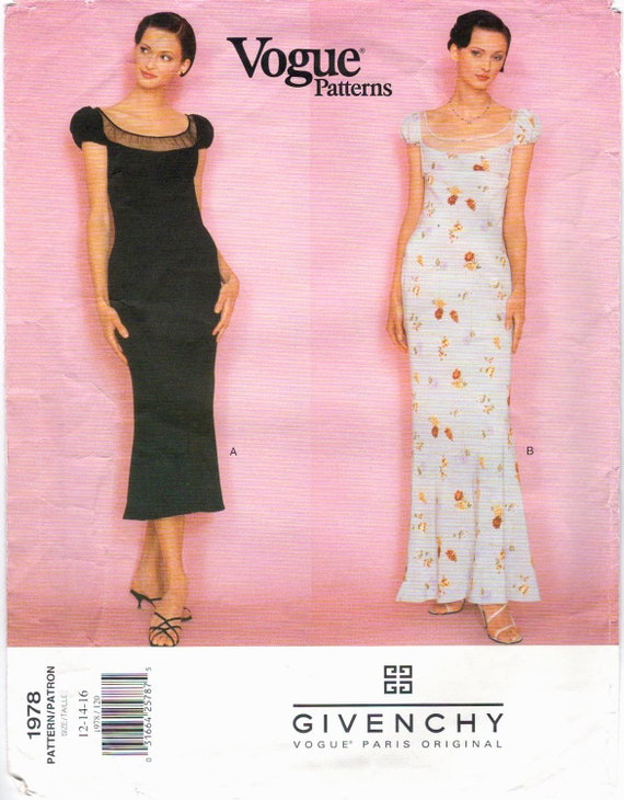 1990s Givenchy dress pattern by John Galliano - Vogue 1978