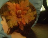 "CLEARANCE 5"" Hair Clip Hairclip Brown Autumn Leaves with Football Button and Round Brown Button Fascinator or Pet Hair Clip"
