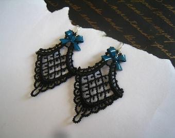 BLACK LACE Chandelier Earrings, Tiny Blue Enamel Bows, Victorian Steampunk Elegance, Sterling Silver Earhooks
