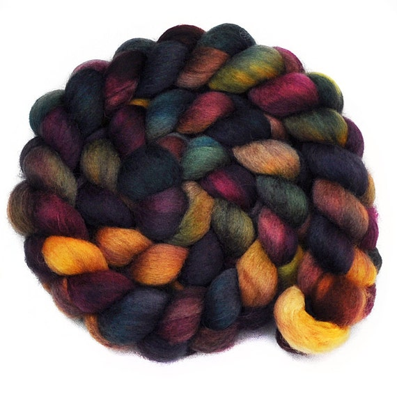 Hand painted roving - Dog-Eared Books - Blue Faced Leicester  (BFL) wool spinning fiber, 4.1 ounces