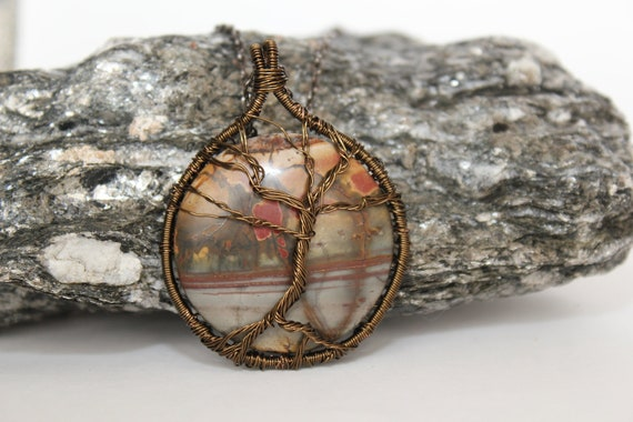 Brass Wire Wrapped Tree of Life Tree Sculpture on Landscape Jasper 40x40mm Cabochon, fashion for Man, Women and Teen