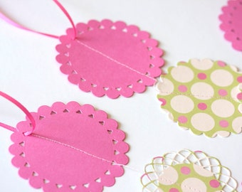 patterned paper circle pink fuchsia color green garland for showers birthday party decoration CLEARANCE