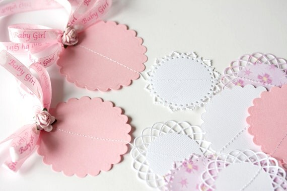 6.5 feet patterned paper circle pink and white garland for baby girl shower birthday party decoration