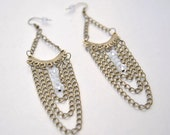 Cascade Layered Earrings Chandelier Antique Chain Clear and White Beads
