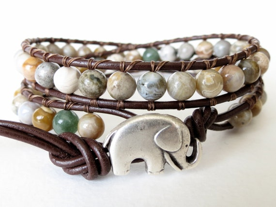 Elephant wrap bracelet, Ocean jasper beaded leather 2x wrap cuff bracelet, good luck bracelet, southwestern, sundance, boho chic
