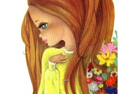 Beautiful Girl with Flowers, Vintage 70s Postcard with a Big Eyed Girl, by Victoria