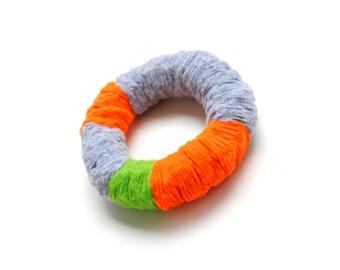 Felt bracelet, colorful bracelet, fiber bracelet, statement bracelet, thick bracelet, multicolor bangle,  colorblock bracelet, gift for her