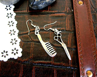 scissor / shears  and comb hair stylist earrings silver Graduation Gift