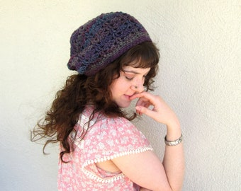 hipster slouchy sparkle crochet hat womans beenie beanie slouch lace purple