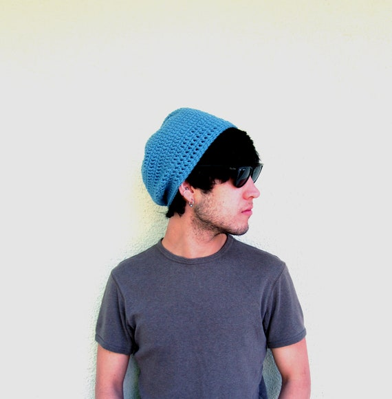 Mens Light Blue Slouchy Hipster Crochet Hat Slouch Beenie Beanie Winter Gifts For Guys Fathers Day