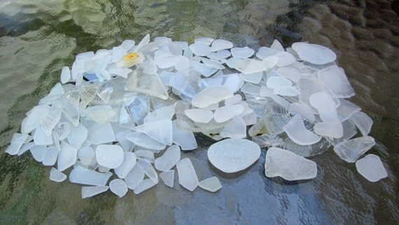 Over 200 Pieces Frosty White Sea Glass Lake Michigan Supplies
