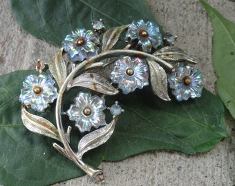 Vintage Brooch Silver Branch with Blue Flowers