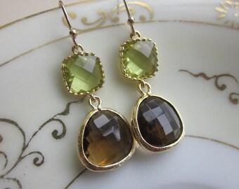 Smoky Brown Earrings Apple Green Two Tier -  Bridesmaid Earrings - Bridal Earrings - Wedding Jewelry
