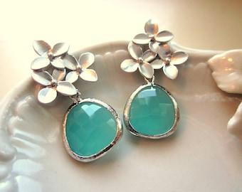 Aqua Blue Mint Earrings Silver Cherry Blossom - Sterling Silver Posts - Mint Bridesmaid Earrings Gift - Wedding Jewelry - Wedding Earrings
