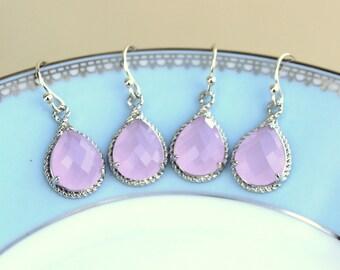 10% OFF SET OF 2 Wedding Jewelry Bridesmaid Earrings Bridesmaid Jewelry - Pink Opal Earrings Silver Pink Teardrop Earrings - Bridal Earring