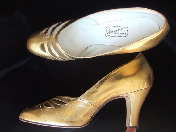 Vintage 30's Art Deco gold leather wedding court shoes bridal pumps UK 6 EU 39 US 7.5