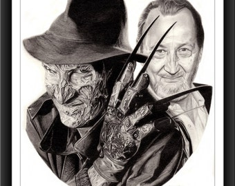 Freddy Krueger - The Face Behind The Monster™ - Robert Englund - 8 x 10 Signed and Numbered Print - Original Graphite Portrait