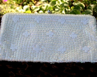 Purse Sequin and Pearl White Clutch