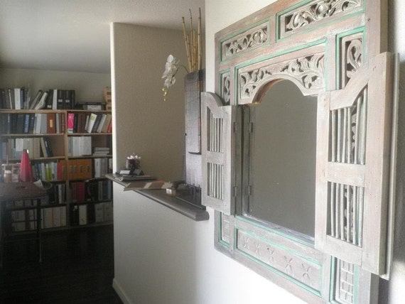 Sold Distressed Mirror With Shutters Wall Decor