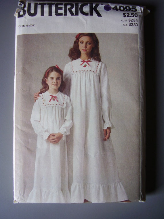Mother Daughter Nightgown Pattern Butterick 4095 Uncut All