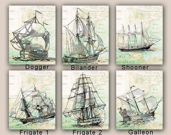 Sailboat art, Sailboat Collection, map art, frigate, galleon, nautical prints, coastal cottage decor, sailing school, gift for sailors,11x14