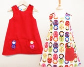 Childrens clothing girls dress Russian doll print reversible