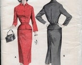Vintage 50's Slim Skirt Yoked Fitted Inverted Back Pleat Peplum Jacket Size 14 Bust 34 Butterick 8013 UNCUT FF