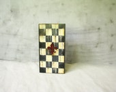 Rustic simple box FREE SHIPPING Geometry  christmas red  Checked vampire gothic black, red, white, ivory box with the blood red Lily on top