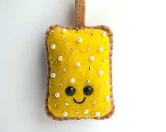 Yellow Toaster Pastry Plush Keychain