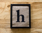 SALE. Letter H burlap wall art, alphabet decor, initials, lowercase