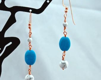Turquoise White Buffalo Stone Handmade Gemstone Dangle Earrings