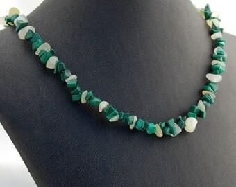 Malachite and Jade Tumbled Gemstone Choker - Green Necklace - Statement Necklace - Beadwork Necklace