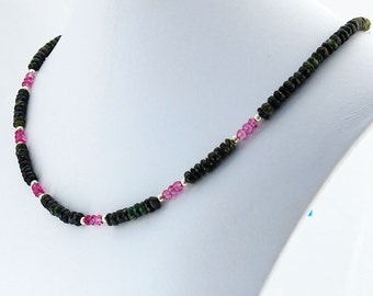 Watermelon Tourmaline Necklace, Green and Pink Tourmaline, October Birthstone, Gemstone Necklace