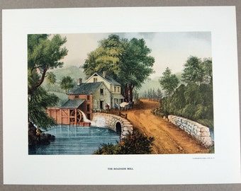 Vintage 1970's Currier and Ives The Roadside Mill Print