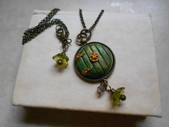 "ON SALE Hobbit Door Necklace, Hand Sculpted Green Door with Hinges and Knob, 18"" Chain, Antique Vintage Brass Components, Only ONE Remaining"