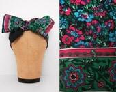 70s Floral Scarf / Vintage 1970s Boho Jewel Tone Floral Scarf