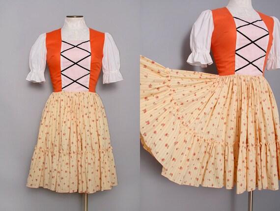 1950s Oktoberfest Dirndl Dress with Full Circle Skirt Size Small