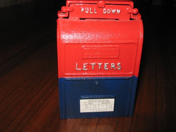 Vintage Cast Iron Post Office Mailbox Coin Bank