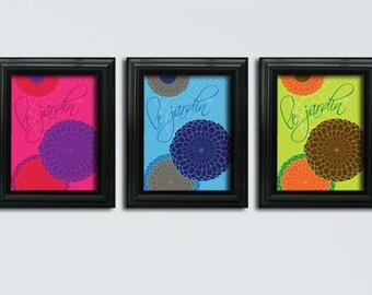 "Printable Art - Le Jardin (The Garden) - Set of 3 Floral Posters 8"" x 10""  - Instant Digital Download"