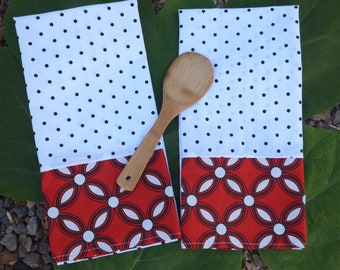 2 Red and White and Black Dish Towels, Tea Towels, Kitchen Towels, Industrial Kitchen